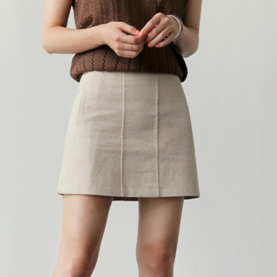 Aライン 台形スカート シンプル ショート 無地 ボ...
