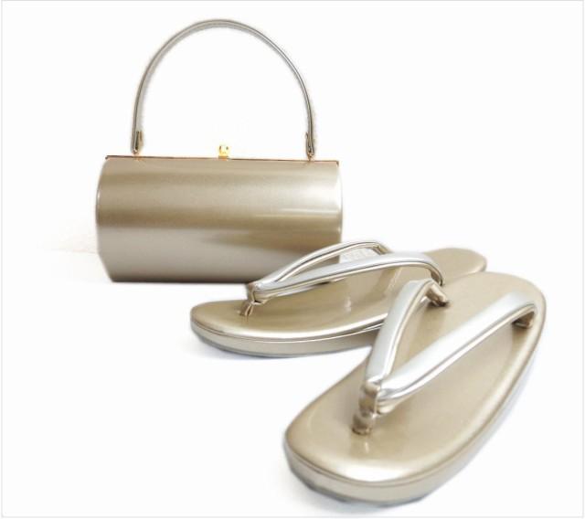 エナメル草履バッグセット横丸型薄金色(銀)大き...