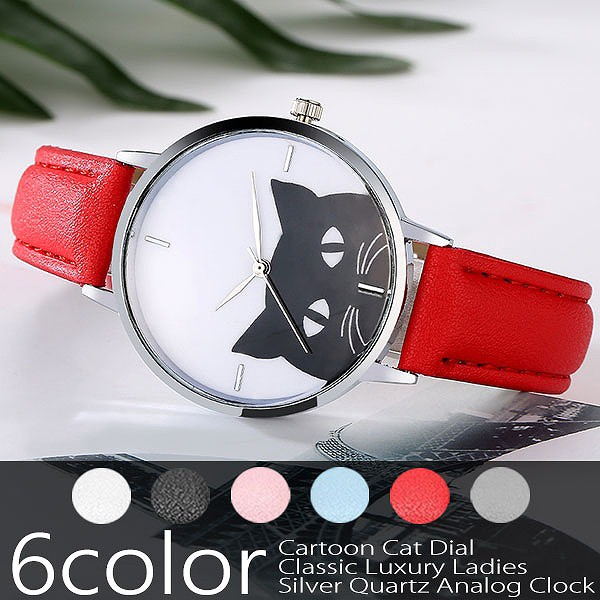 黒猫腕時計 モノトーン文字盤 シンプルかわいい...