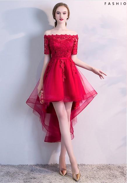ボートネックミディアムドレス 赤ドレス レース ...