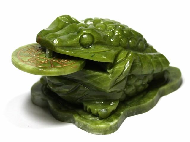 【天然石 彫刻置物】銭蛙(三本足蛙) グリーンジェ...