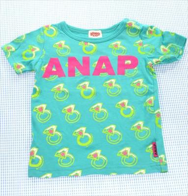 ANAP アナップ Tシャツ 半袖 90cm ドット 緑系 女...