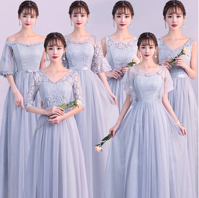 グレーワンピ 6デザイン カラードレス フォーマル...
