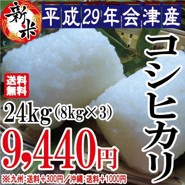 新米 コシヒカリ 24kg(8kg×3)会津産 29年産 お...