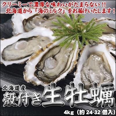 牡蠣 殻付 カキ かき 北海道産 生食可 8kg(約72-...