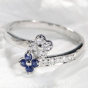 pt900 ブルーサファイア ダイヤモンド フラワー ...