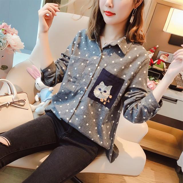 猫 刺繍 ドット柄 シャツ