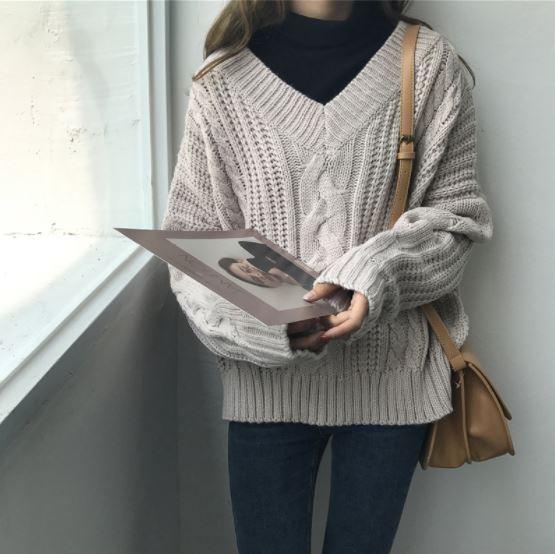 ニット セーター ざっくり ゆったり ルーズ Vネ...
