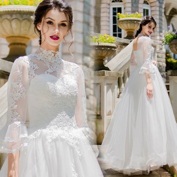 877cf5fe5a63d 春新品☆ウエディングドレス シースルー レース刺繍 長袖ベルスリーブ プリンセスライン花嫁結婚式