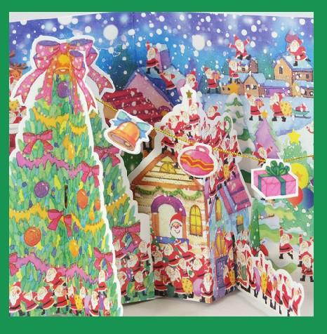 クリスマスカード/ポップカードサンタさんが沢山!...