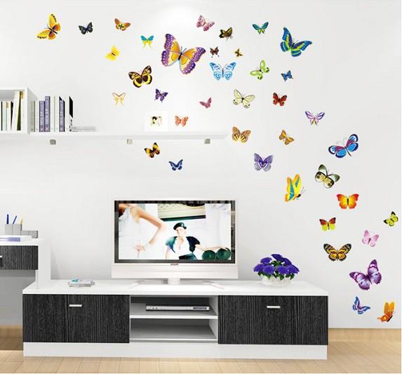 ウォールステッカー 色とりどりの蝶々 バタフライ...