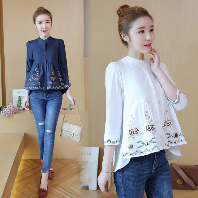 刺繍 フレアシャツ 七分袖 YSFT1001