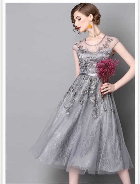 花柄刺繍ドレス ワンピース