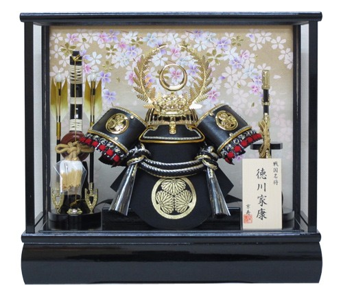 緑下敷き毛氈付き五月人形ケース 兜飾り12号徳川...