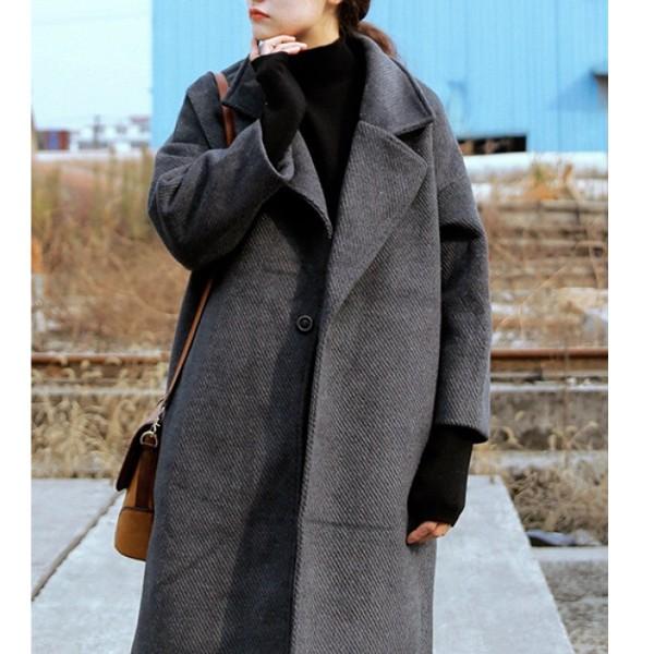 ゆったり全3色ウール無地コート スーツの襟暖か...