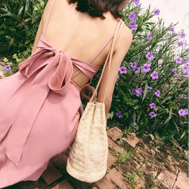 シフォン ドレス 甘いピンクのワンピース バック...