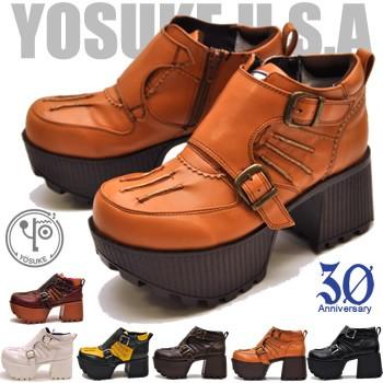 YOSUKE ヨースケ 靴 ベルトデザイン厚底シューズ ...