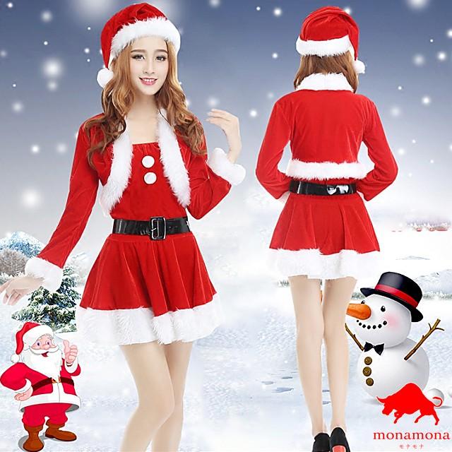 [早割][即納][4サイズ][4点セット]ボレロ サンタ クリスマス Xmas 仮装 コスプレ セットアップ 衣装 セクシー 定番 コスチューム