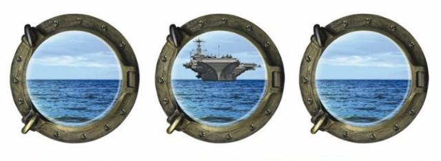 送料無料 ウォールステッカー 潜水艦の窓 3D 空母...