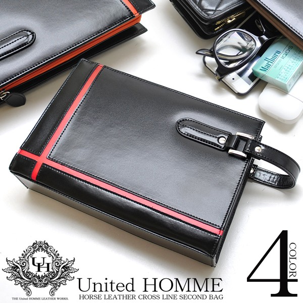 【unitedHOMME】馬革クロスラインセカンドバッグ...