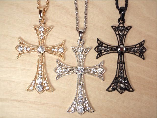 ゴシッククロス ネックレス 十字架 ロック シルバ...