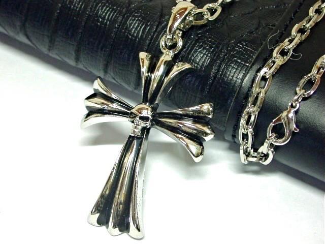 スカル クロス ネックレス 十字架 ドクロ 骸骨 髑...