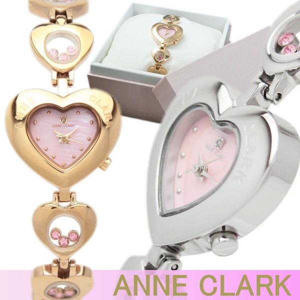 ANNE CLARK アンクラーク 腕時計 レディース 天然ダイヤモンド ハート型フェイス ムービングカラーストーン ベルト調整可能