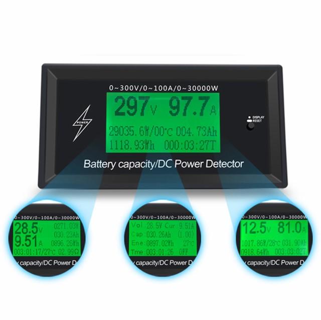 300V 100A DCデジタル 電圧計 電流計 電力計 車 ...