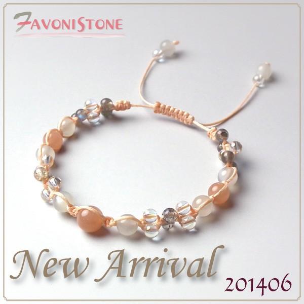 【天然石 ブレスレット】オレンジムーンストーン ...