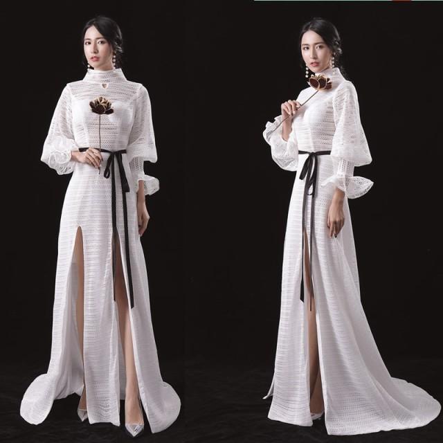 袖あり 豪華なウエディングドレス  大きいサイズ ...