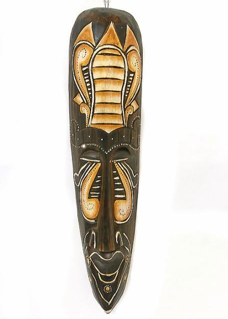 木彫り お面 壁掛け マスク 木製 長さ 50cm ロン...