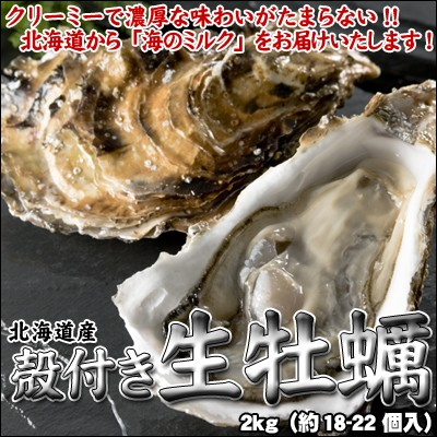 牡蠣 殻付 カキ かき 北海道産 生食可 2kg(約18-...