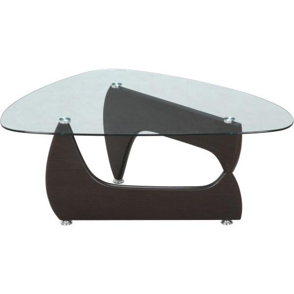 ガラスセンターテーブル ルーク ウォルナット