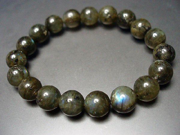 天然石2A濃い目ラブラドライト約10ミリ19粒数珠ブ...