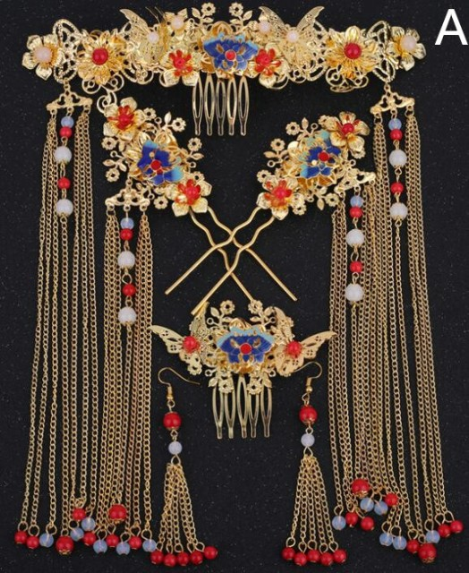 中国古代宮廷髪飾りセット 古典美人用アクセサリ...