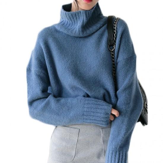 ゆったりサイズとブルーカラーがかわいいセーター...