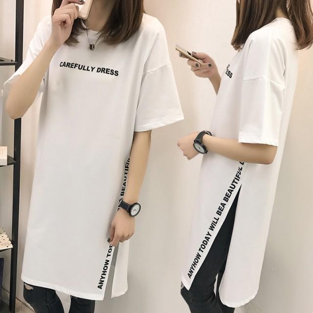 ロングtシャツ ビッグt ロンティー tシャツワンピ...