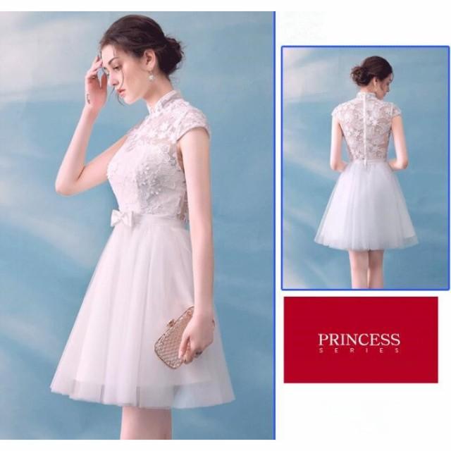 f0b794de5470e パーティードレス 半袖 白 レース 花嫁 二次会 ドレス ウェディングドレス ミニ カラードレス 結婚式 コンサート