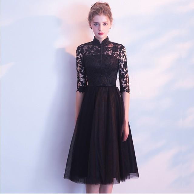 fb922cfd41289 パーティードレス 結婚式ドレス 袖あり ウエディングドレス レース 大きいサイズ 大人 上品 お呼ばれ披露宴
