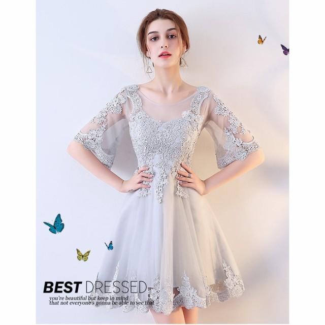 パーティードレス 袖あり 結婚式 ドレス ドレス ウェディングドレス 膝丈ドレス 発表会 パーティ