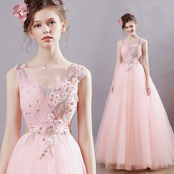 花嫁 ピンク ウエディングカラードレス 結婚式 二次会 披露宴ドレス パーティ お呼ばれ 発表会 演奏会