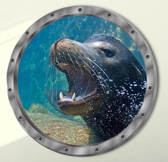 ウォールステッカー 潜水艦窓から アシカ 3D壁シ...