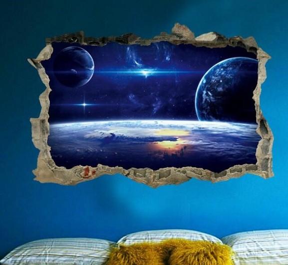 ウォールステッカー 青い宇宙 3Dシール 煌く 惑星...
