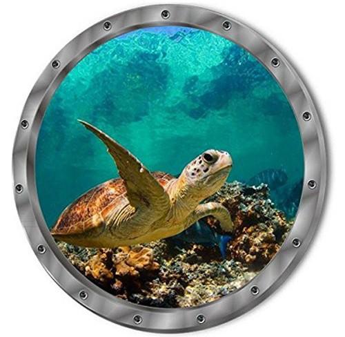 ウォールステッカー 潜水艦窓から ウミガメ 3D壁...