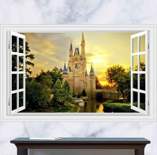 ウォールステッカー 窓 プリンセスシンデレラ城 3...