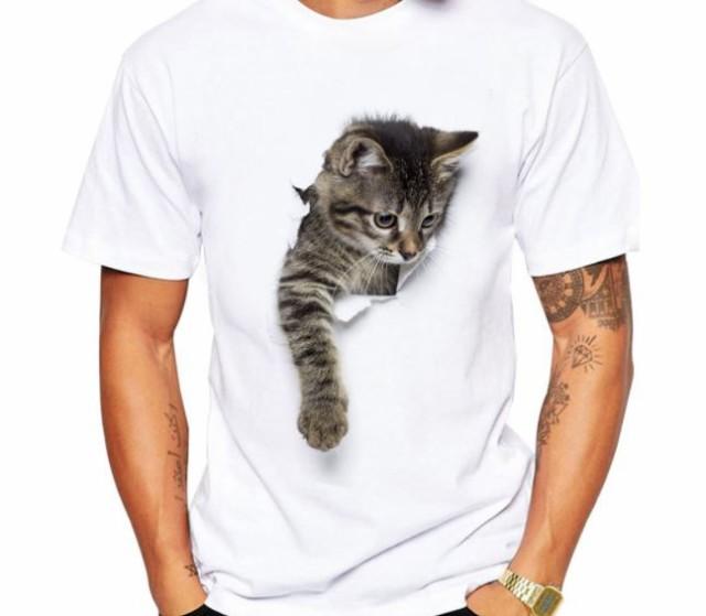 送料無料】猫 猫柄 Tシャツ メンズ 半袖 白 イラスト かわいい