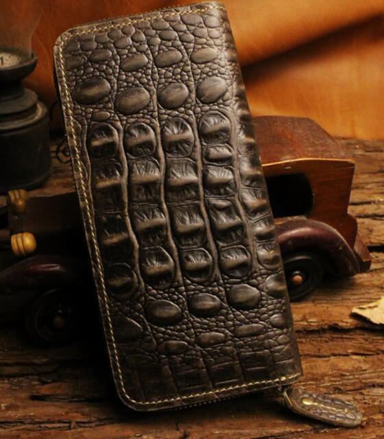 長財布 レザー(牛革) ウォレット 立体的な花彫...