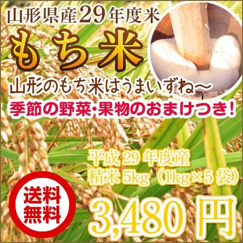 【送料無料】山形県産29年度米「もち米」5kg う...