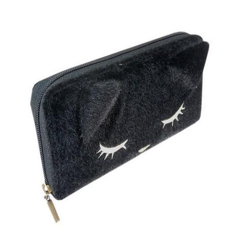 猫のぷーちゃん 黒のファー長財布