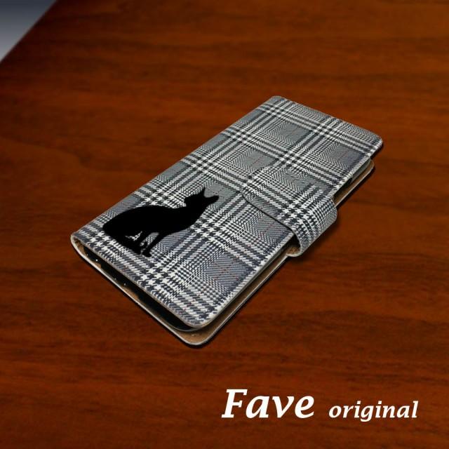 黒ネコ(グレンチェック) スマホケース iPhone 手...